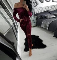 Wholesale New Arrival High Quality Velvet Women Jumpsuits Fashion New Style Long Sleeve Off Shoulder Long Lady Pants with Hole