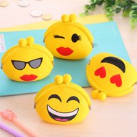 sacs en gelée jaune achat en gros de-Vente en gros - Jaune Cute Cartoon Emoji Silicone Jelly Coin Purse Money Bag Holder Portefeuille 10cm * 3cm * 7cm