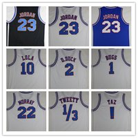Wholesale Mens Cheap Space Jam Tune Squad Bugs Bunny Taz D DUCK Lola Bunny Murray White Jersey Shirt