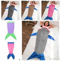 Cheap 2017 Mermaid Tail Blanket Shark Towel Envelopes for 5-12T Kids Soft Handmade Animal Sleeping Bag Pajamas Overalls Children Quilt 50pcs