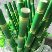 bamboo drinking straws - Bamboo Paper Straws Home Kids Children Favor Wedding Party Drinking Decoration