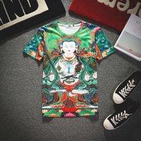 Cifras budismo Baratos-Nueva figura religiosa del Buddhism del color verde de la impresión de la llegada 3d de la camiseta del O-cuello del plend del algodón de la camiseta de las tallas de Buddha 5 suéter al por mayor barato