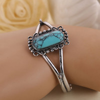 bella turquoise bracelet - 2017 New Arrival Movie Bella Bangle Vintage Silver Plated Natural Turquoise Alloy infinity Charm Bracelet For Women best Gifts