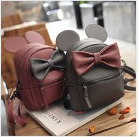 big lots backpacks - 2017 New Korean Style Girls PU Backpack Fashion Girl Cartoon Mickey Design Backpacks Cute Girls Big Bowknot Bags With Ears Colors