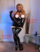 Precio de Traje de cuero completo-Full Set vestido de alta calidad Wetlook brillante sexy Mini vestido abierto mujeres busto Clubwear Metal cadena Bodycon falso cosplay de cuero