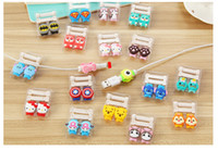Wholesale Cartoon USB Cable Earphone Protector headphones line saver For Mobile phone charging line data cable protecter