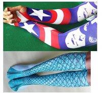 basketball figures - summer sun Ice silk sleeve gloves Superman supergirl Wonder Woman Robin Batman Batgirl Socks Knee High Printed hose cuff Socks to figure