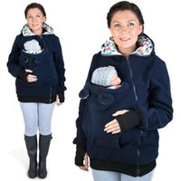 Wholesale Fashion Maternity Outerwear Womens Mother s Kangaroo Hoodie Duo Top Carrier Baby Holder Jacket