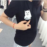 Wholesale Women T Shirt Summer Style T shirt Print Middle Finger Pocket Cat Harajuku O neck Short Sleeve Cotton Couple Tee Plus Size