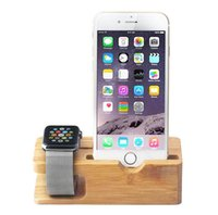 Wood color Stylish simplicity Charging base bracket Creative Vehicle Charging Bracket Solid Wood Bamboom Cell Phone Mounts Fashion Simple Mobile Phone Charging Base Iphone Watch Display Stand