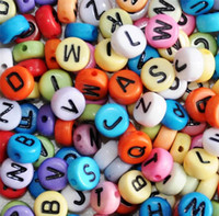 Wholesale 8 STYLE bag mm acrylic round digital beads Russian alphabet beads beaded bracelet with Accessories A Z beads L85