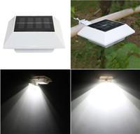 al por mayor lámpara de jardín solares de la cerca-Solar Powered luz de pared al aire libre 4 LED luz de pared impermeable Jardín Yarda valla de luz