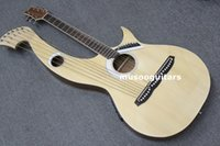 Red acoustic harp - String Acoustic Electric Double Neck Guitar Harp Guitar With bag
