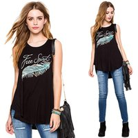FASHION Summer Casual Tank Tees Noir O Neck Sans manches Lettres Plumes Impression Loose Harajuku T Shirt Women Cool Tops