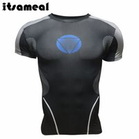 El tissu Prix-Wholesale- Iron Man Costumes Short Sleeve Compression T-shirt Homme Black Slim Raglan High Elastic Tissu respirant en tissu