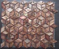 Wholesale Antique Brass Rhomb Geometric Backsplash Mother of Pearl Shell Mosaic Tiles