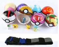 venda por atacado bonecos de plástico-Brinquedos -Poke ir Poké Clip 'N' Carry Poke Ball Belt bola de plástico poke + boneca de ação boneca estilo Pikachu atacado aleatória