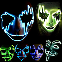 Wholesale LED Glow Hand Made Cosplay Horror Ghost Party Costume Face V Vendetta Scary Masque Masquerade Mascara Anonymous Party Mask