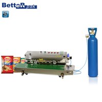 automatic bag sealer - FRM Automatic Continuous inflation Nitrogen film sealing machine plastic bag package machine Expanded food band sealer