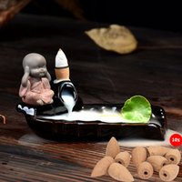 bamboo sinks - Tibet Monk Bamboo Sink Ceramic Backflow Smoke Cone Incense Burner Holder Home Fragance Sandalwood Censer with Cones Free Z00D800