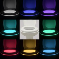Wholesale 2016 New Toilet Nightlight Motion Activated LED Nightlight Sensitive Colors light in one Device DHL