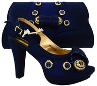 Women adhesive rhinestones - 2017 Fashion Women Italian Matching Shoe And Bags Set With Rhinestones High Quality African Wedding Shoes And Bag Dark Blue