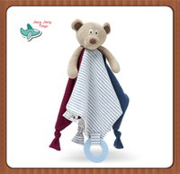 Wholesale Baby Comforter Toy Lovely Bear Doll Appease Towel Doll Soft Plush Rattle With Ring Teethers Gifts