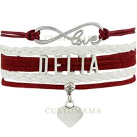 best delta - Custom Infinity Love Delta Heart Charm Women s Wrap Bracelets Best Gift Maroon White Suede Leather Custom any Themes