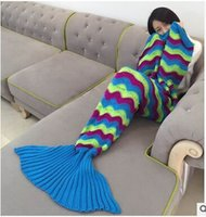 Wholesale 2016 new style Three color stripe mermaid blanket TV and Air conditioning blanket A nap blanket