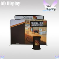 Banner Stand Black Oxford Carry Bag 1.2mm 10ft*8ft Straight Tension Fabric Backdrop Trade Show Display Stand With Single Side Printing(Include Oval Table And Top Banner)