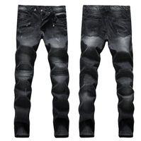 Wholesale Men Balmain Skinny Jeans Plus Size Men s Jeans Hot Jeans Famous Brand Designer Jeans men Distressed Jeans Ripped Denim
