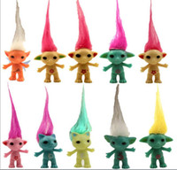 Wholesale 10cm The New hair Troll Doll Vinyl figure toys Decoration Doll kids toys new Year s Easter party gift