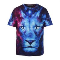 Wholesale 2017 new big size blue lion loose t shirts high quality fat peoples casual sweatshirts d print o neck large t shirts mens loose tees