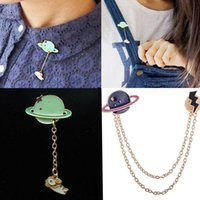 animal planet costumes - Brooch Badge vintage enamel Rabbit moon space Saturn planet charm costume brooch Collar pins jewelry accessories for women Girl