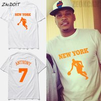 new jersey tees achat en gros de-ZkcDOIT Carmelo anthony 7 # jersey summer new brand New York basketball tee shirts homme manches courtes loose tee top, tx2346