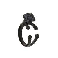 Nuevos anillos punkyes de Cocker Spaniel del estilo, anillos ajustables del animal 3D del negro del perro Estilo antiguo del punky del bronce de plata para el regalo especial