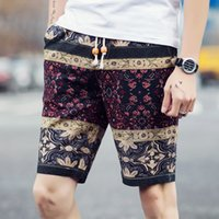 arrival cargo shorts - Summer fashion new arrival men cotton linen printed breathable comfortable shorts casual cargo shorts homme man plus size