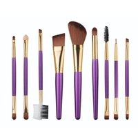 bamboo ma - 9Pcs Bamboo Makeup Brush Set Professional Facial Cosmetic Brushes Tools Beauty Brushes for Women Make Up Foundation MA free DHL