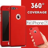 al por mayor filtro protector de iphone-360 grados lleno de la cubierta de la protección del cuerpo caso ultrafino híbrido de lujo con el protector de vidrio templado para el iPhone 7 más 6 más 5s 6s