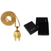 Pendant Necklaces ancient pharaoh jewelry - 18k Gold Plated Men Women Charm Rock Egyptian Pharaoh Necklaces Bling Ancient Last King Pendants Hip Hop Jewelry Gifts Chains