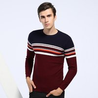 Wholesale Casal Sweater Men Striped Swaters Pullover Slim Knitwear Autumn Spring Knitted Coat Brand Clothing O Neck Good Quality Hot