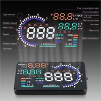 Wholesale 5 quot A8 Car HUD Head Up Display Projector OBDII OBD2 Interface Plug Play Fuel Consumption Speed Warning System