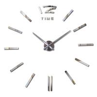Wholesale new arrival Quartz clocks fashion watches d real big wall clock rushed mirror sticker diy living room decor