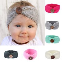 autumn winter accessories - 2017 Baby Girls Crochet Knitted Headbands Infant Toddler Colors Wool Buttons Hairbands Autumn Winter Head Wrap Children Hair Accessories