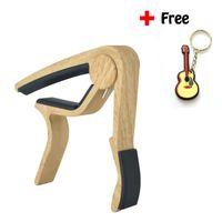 acoustic single guitar strings - 6 String Wood Grain Acoustic Guitar Capo Single Handed Quick Change High Capo For Guitar Ukulele Banjo