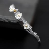 Wholesale S925 pure silver bracelet female open creative plum handmade silver bracelet plum blossom the flowers adorn article