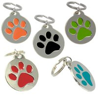 Wholesale Cute Engraved Round Paw Design Zinc Aluminium Alloy Pet Dog Necklace Identity Card For Pets Collar Ring Tag with Keyring