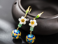 Wholesale DIY Unique Classic cloisonn craft sterling silver DIY earring for ladies Vintage jewelry earring makes you graceful
