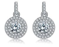 Wholesale 925 Sterling silver diamond earrings circle eardrop temperament of European and American fashion women s boutique allergy free
