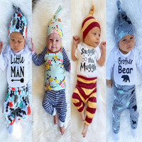 Wholesale Jumpsuits Newborns clothing suit babies Romper pants hat beanie three piece suit boy girls clothing sets kids clothes